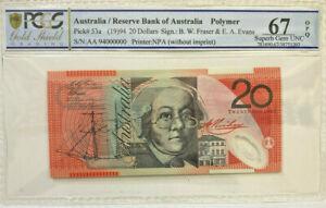 "AUSTRALIA 1994 $20 POLYMER SPECIMEN  "" AA 94 000000 ""  PCGS 67  SUPERB  GEM  UNC"