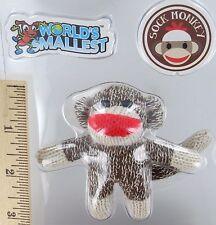 World's Smallest SOCK MONKEY Toy Miniature Doll Retro Mini Plush Figure NEW