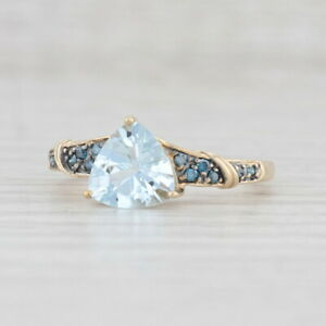 New 1.35ctw Aquamarine Blue Diamond Ring 10k Yellow Gold Sz 8 Trillion Solitaire