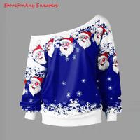 Ugly Christmas Sweater Santa Claus Printed Loose Snowflake  Sweater|Santa Clothe