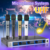 Pro 4 Channel 4 Cordless Handheld Mic UHF Wireless Microphone System Karaoke  *