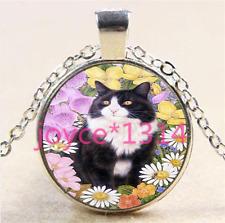 Vintage Flower Cat Cabochon Tibetan silver Glass Chain Pendant Necklace #5834