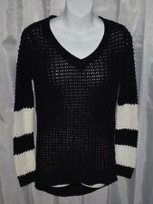 Ultra Flirt Black Long Sleeve Open Knit V-Neck Sweater - Small - NWT's