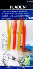 6 Packs Tube Rig Red Yellow 4 Hook Size 3/0 Fishing Mackerel Feathers Lures Cod