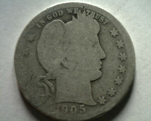 1905 BARBER QUARTER DOLLAR ABOUT GOOD+ AG+ NICE ORIGINAL COIN FROM BOBS COINS
