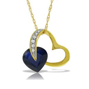 Genuine Sapphire Blue Gemstone Diamond Pendant Solid Gold 14K 4.30 ctw Necklace