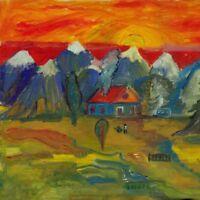 """Russischer Realist Expressionist Öl Leinwand """"Abendrot"""" 29 x 28 cm"""