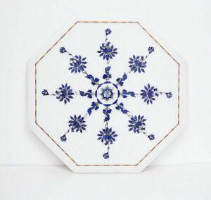 "30"" White Marble Table Top Semi Precious Stones Lapis Inlay Handmade work"
