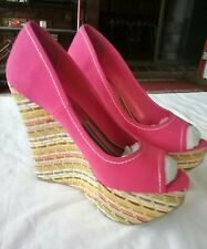 SPEED LIMIT 98 Multicolored Canvas Peep Toe Wedge High Heel Shoes . NEW