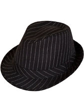 Black Adult Gangster Pinstripe Hat 1920's Fancy Dress Trilby Al Capone Gatsby