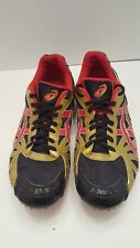 ASICS ATHLETIC SPIKES Sz 11 GN009 TRACK & FIELD RUNNING RED GOLD BLACK