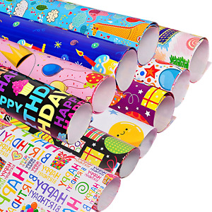 CMOISO Childrens Birthday Wrapping Paper, Gift Wrapping Paper, 10 PCS Cartoon 50