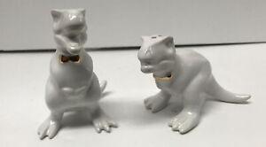 Target T-Rex White Dinosaurs with Gold Bowties Salt & Pepper Shaker Set Retired