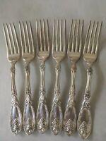 1881 Rogers A1 Silver Plate 1908 LA VIGNE Grape Design 6 Dinner Forks
