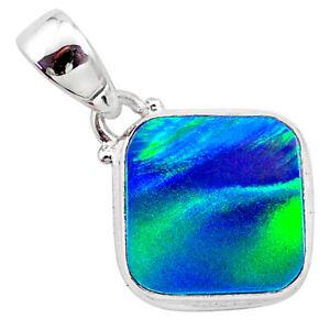 4.03cts Northern Lights Aurora Opal (lab) 925 Silver Pendant Jewelry T25808