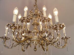 CRYSTAL SILVER NICKEL CHANDELIER GLASS CEILING MEDIUM LAMP 12 LIGHT
