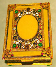 JEWELRY 19 C CONTINENTAL GILT BRONZE BOX  WITH SEMI PRECIOUS STONES & ENAMEL