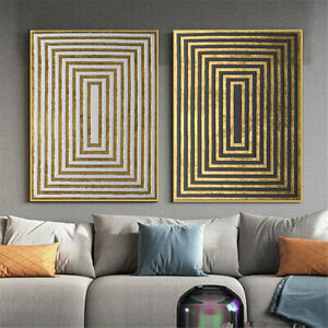 Abstract Geometric Circle Golden Pattern Canvas Print Poster Wall Art Home Decor