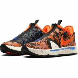Nike Paul George IV PG4 Digi Camo Basketball Shoe Tie & Zipper, Cream/Orange