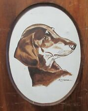 R.Gonzales Dachshund Dog Original Oil On Canvas Painting