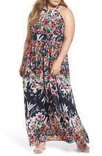 10da2ff38c2 ELIZA J Navy Blue Pink Floral Abstract Rose Print Halter Chiffon Maxi Dress  22W
