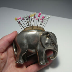 1800s ANTIQUE VICTORIAN SILVER Plated Elephant Pin Cushion GORGeoUS!
