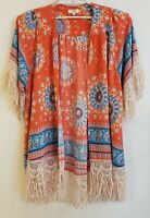 Umgee Women Kimono Size S/M Floral Open Front Lace Fringe BOHO Peasant Festival