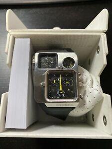 Rare Diesel Chronograph Duel Time Zone 50 Meter Mens 57mm Watch Dz-1320