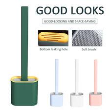 Silicone Toilet Brush Wall Mounted Flat Head Flexible Soft Bristle Brush Holder