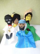 Lot de 4 Marionnettes à Main  en Tissu et Laine