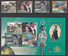 SOUTH GEORGIA : 2002 Golden Jubilee set+Min Sheet  SG332-5+MS336 MNH