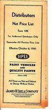 James B Sipe & Company Distributors Net Price List SIPES 1941 Paints Pittsburgh