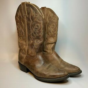 Justin Mens Brown Leather Pull On Pointed Toe Cowboy Western Boots Size 13.5
