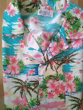 "Mens Blues Pinks Hawaiian Print Retro Shirt L Chest 44 46"" Rockabilly Tiki Surf"