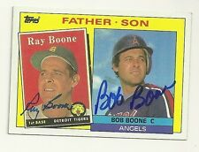 RAY BOONE & BOB BOONE 1985 TOPPS FATHER SON SIGNED # 133 TIGERS ANGELS