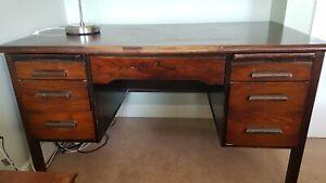 Antique Mid 20th Century Oak 'Teacher' Desk double pedestal Abbess