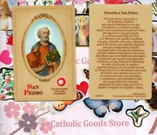 San Pedro - Oracion a San Pedro - Spanish - Relic Paperstock Holy Card