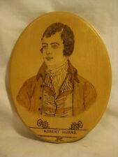 woodburned in Scotland signed M. Young oval portrait art wall decor wood Burns