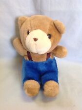 "Applause Tom And Susan Bear Plush Teddy Bear Blue Overalls 1984 Vintage 8"""