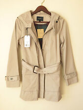 NWT COLE HAAN Womens Rain Coat Stylish Single Breast Zip Front Hood 60% OFF MSRP