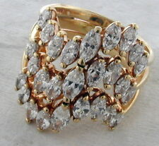14K Yellow Gold Ring with 3 Rows of 27 Marquise Cut Diamonds 3.65 Carats 7 Dwts