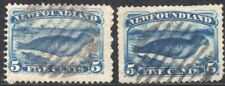 NEWFOUNDLAND CANADA 1876/9 STAMP Sc. # 53 AND 55 USED