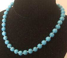 10MM Blue Turquoise Necklace/Bracelet/Earrings  NEW (silk gift bag)