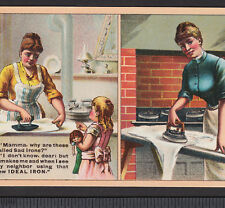 Antique Sad Ideal Iron Kitchen Ironing Stove With/Without Advertising Trade Card