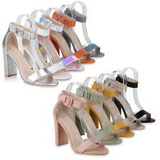 Damen High Heels Sandaletten Blockabsatz Party Absatzschuhe Kroko 833701 Schuhe