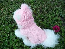 XXXS  handmade Pink dog sweater&hat set(60% Silk , 35% Wool , 5% Cashmere)