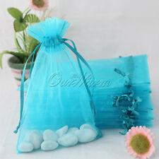 "50X Aqua Blue 4x6"" Strong Organza Pouch Bag Wedding Banquet Gift Candy Favor Bag"