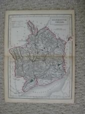 ANTIQUE 1842 MONMOUTHSHIRE COUNTY USK PONTYPOOL NEWPORT ENGLAND HANDCOLORED MAP
