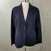 New Lands' End Size 14 Blazer Career Jacket Professional Navy Blue Womens