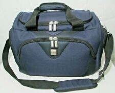 "REVO Weekender Carry On Travel Bag 16"" Navy Blue Canvas Long Shoulder Strap NICE"
